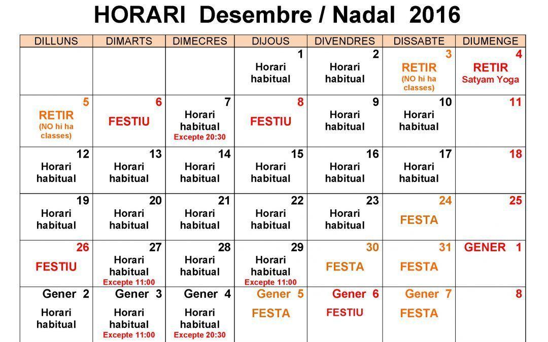 HORARI DESEMBRE